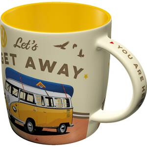 nostalgic art tasse mit henkel vw bulli let s get away. Black Bedroom Furniture Sets. Home Design Ideas