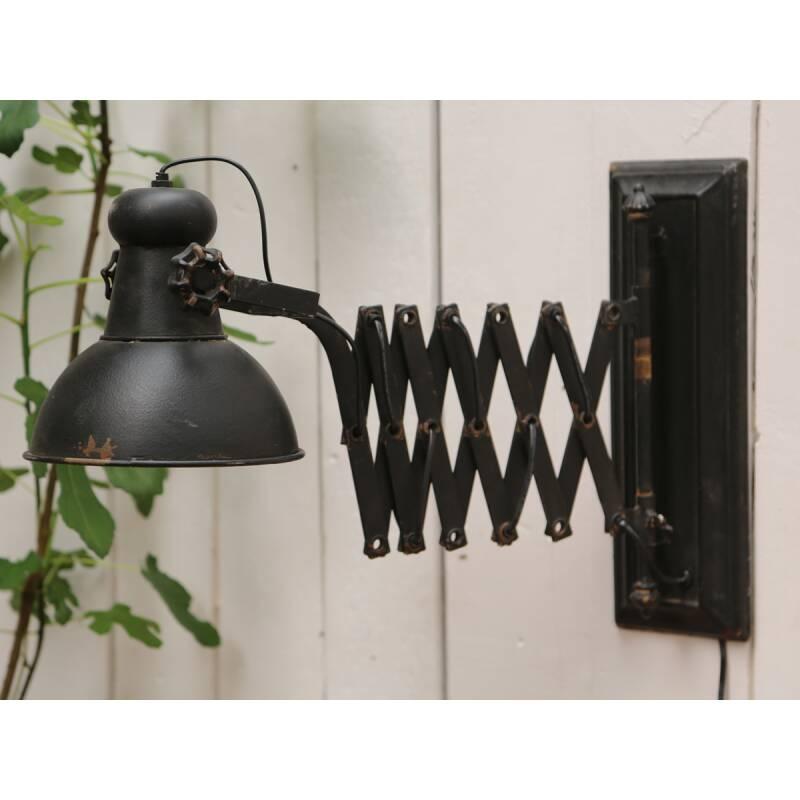 chic antique wandlampe ausziehbar factory antik schwarz l45 105 cm 149 90. Black Bedroom Furniture Sets. Home Design Ideas