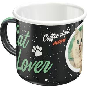 Nostalgic Art Tasse mit Henkel aus Emaille Cat Lover Black