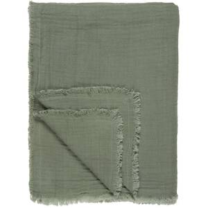 Ib Laursen Wolldecke/Plaid doppelt gewebt dusty chalk green