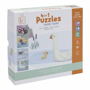 Little Dutch 4 in 1 Puzzle-Set Gans - Little Goose